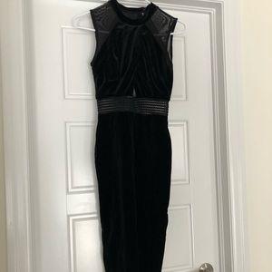 Top Shop Black Velvet Midi Dress